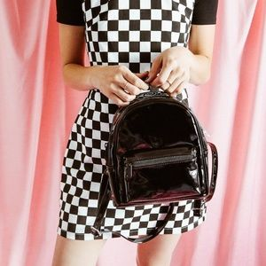 H&M Small Black Patent Leather Backpack